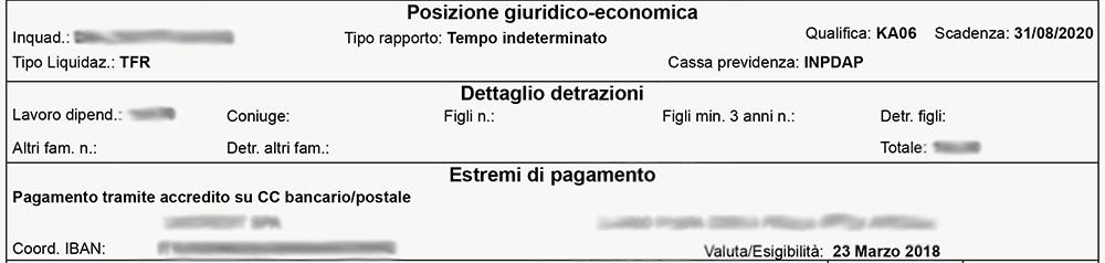 Cedolino NoiPA - Posizione giuridico economica